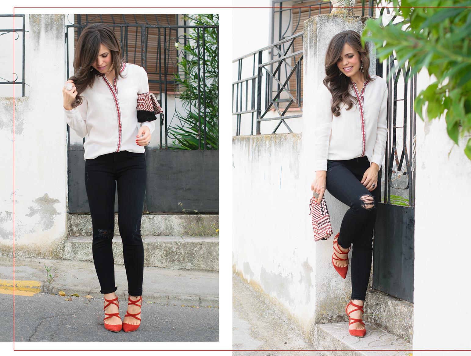 Look de estilo boho black & white con detalles en rojo