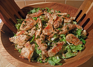 Thai Chicken Salad in Salad Bowl with Tongs