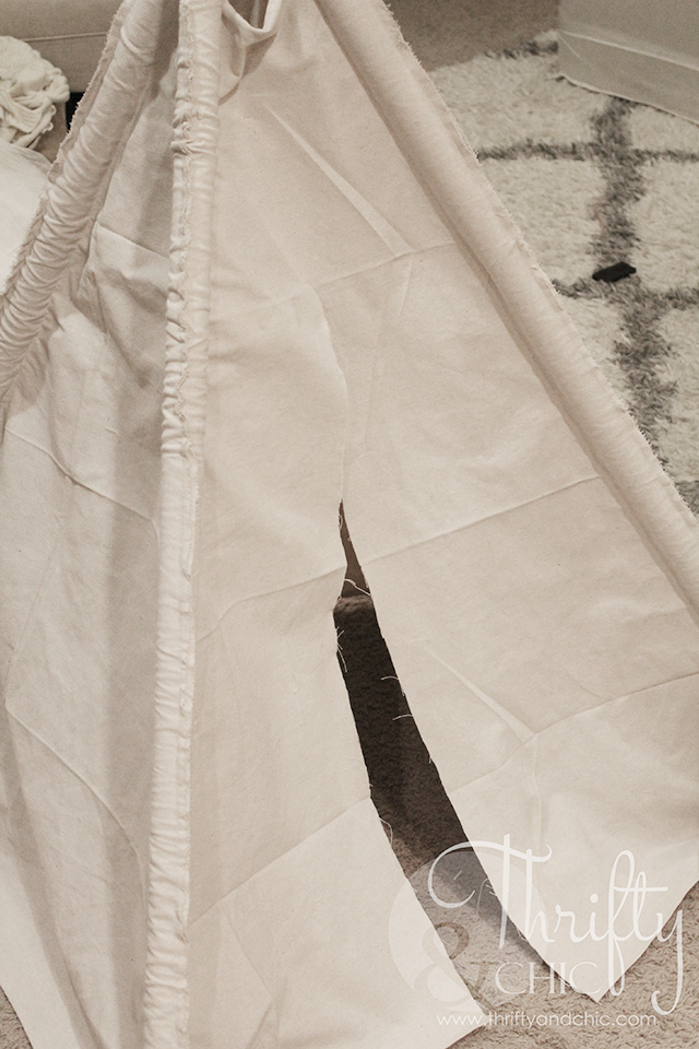 DIY 4 sided teepee for under $20 made from a drop cloth!