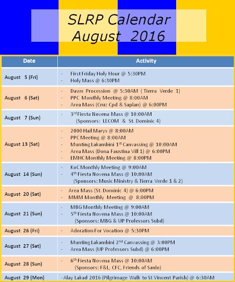SLRP August Calendar 2016