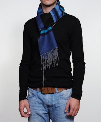 cache-nez à rayure homme bleu