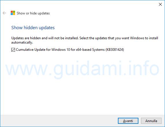 Show or hide update selezionare aggiornamenti Windows 10 da sbloccare