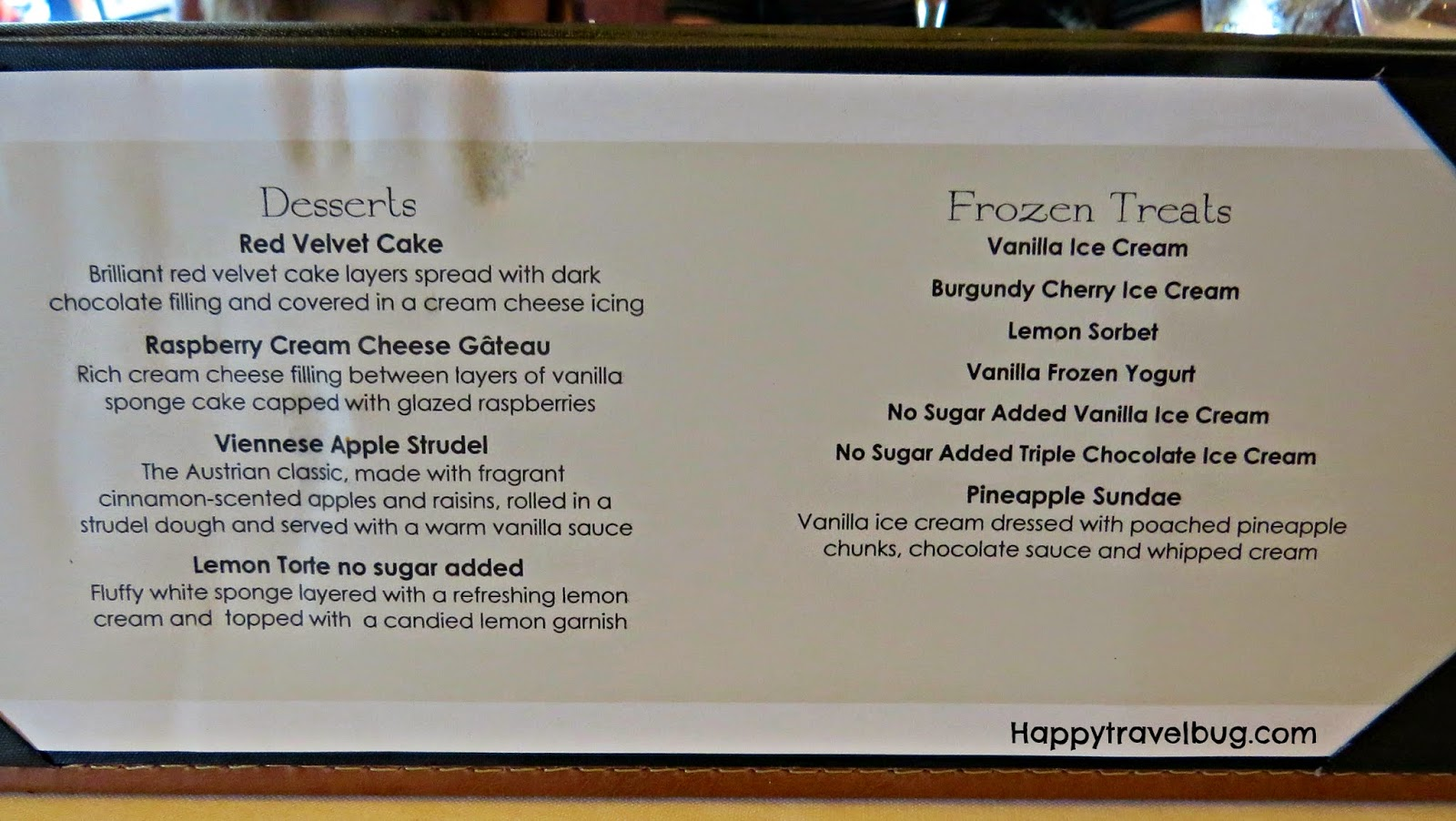 Dessert menu from dinner on our Holland America Cruise