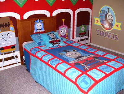 Train bedroom ideas tank thomas bed sheet sets toddler decor train thomas the tank engine for Toddler train bedroom