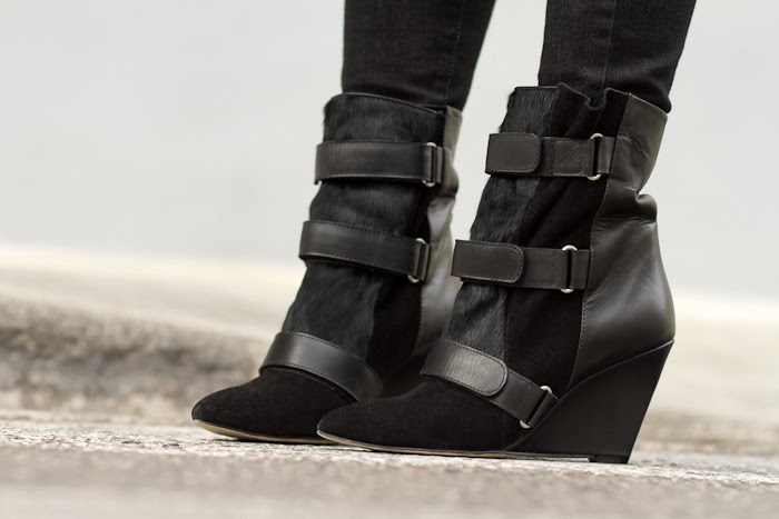 Velcro Strap Boots in Leather, Suede and Hair
