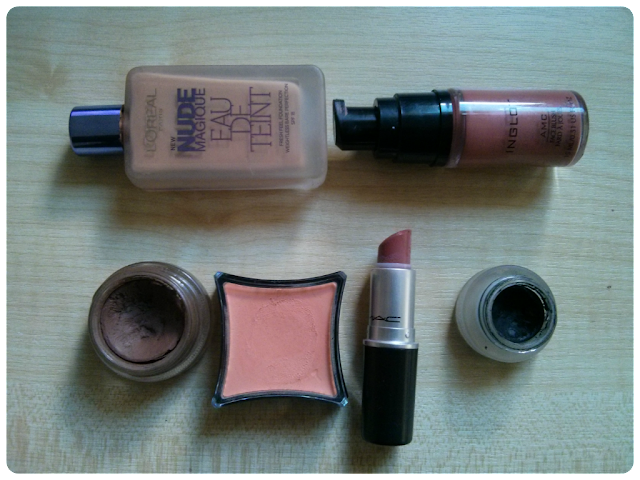 L'oreal Nude Magique Eau De Teint in 150 Nude Beige, Mac Hug Me, Makeup for medium skin tones, desi makeup, Mac quite natural paint pot, Illamasqua emerge cream pigment, maybelline get liner