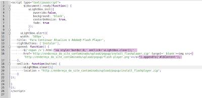 código do malware que pede para atualizar o flash
