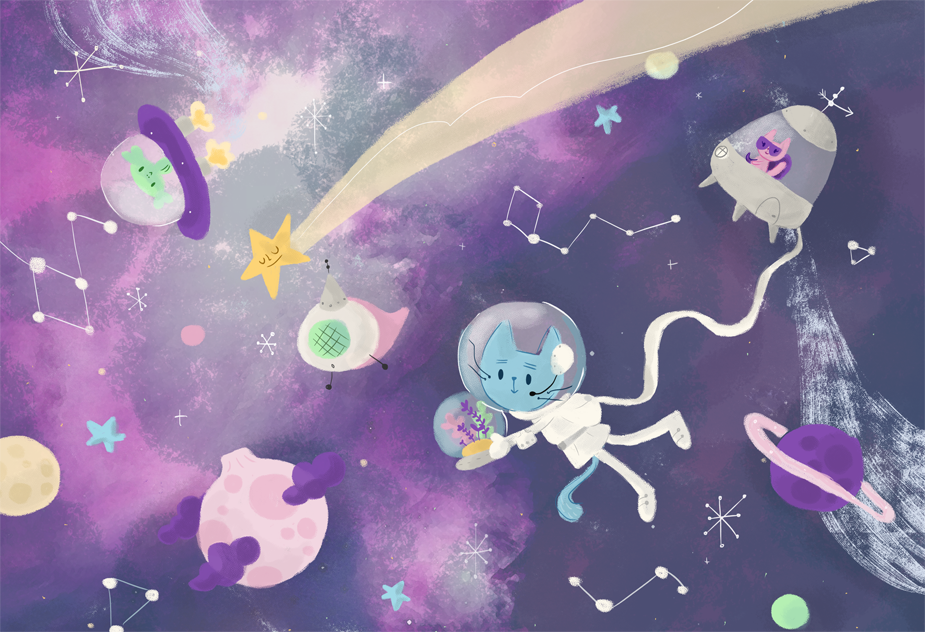 astronauts, cats, space, cute, universe, illustration