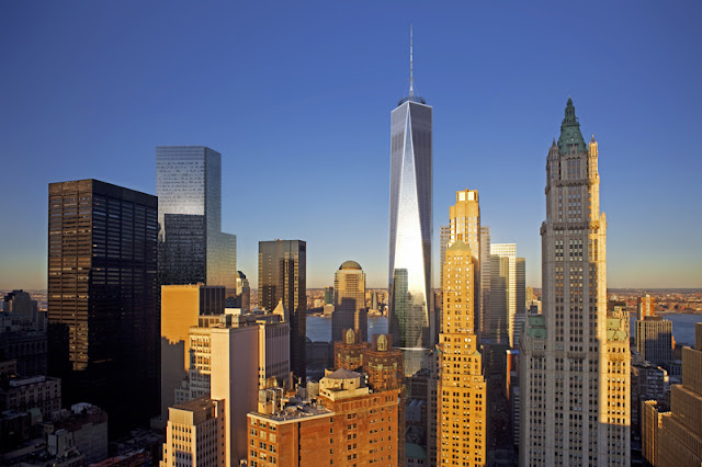 Photo of new wtc complex as seen from lower manhattan