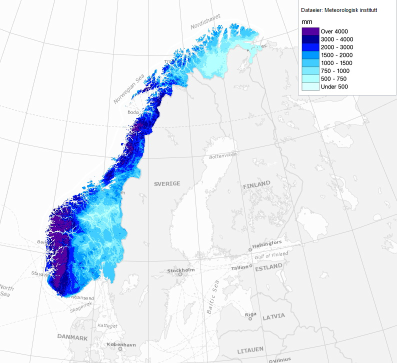 Annual rainfall in Norway