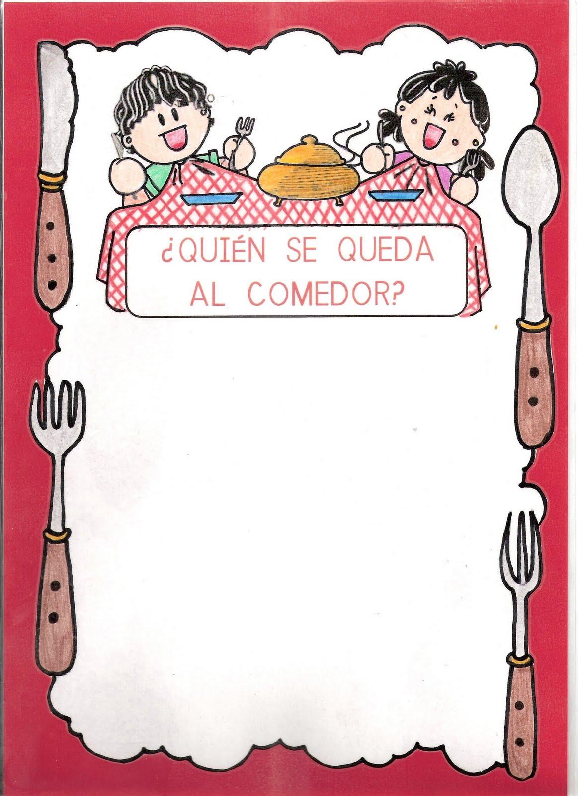 El mundo de la educaci n infantil carteles comedor for Dibujo de comedor escolar