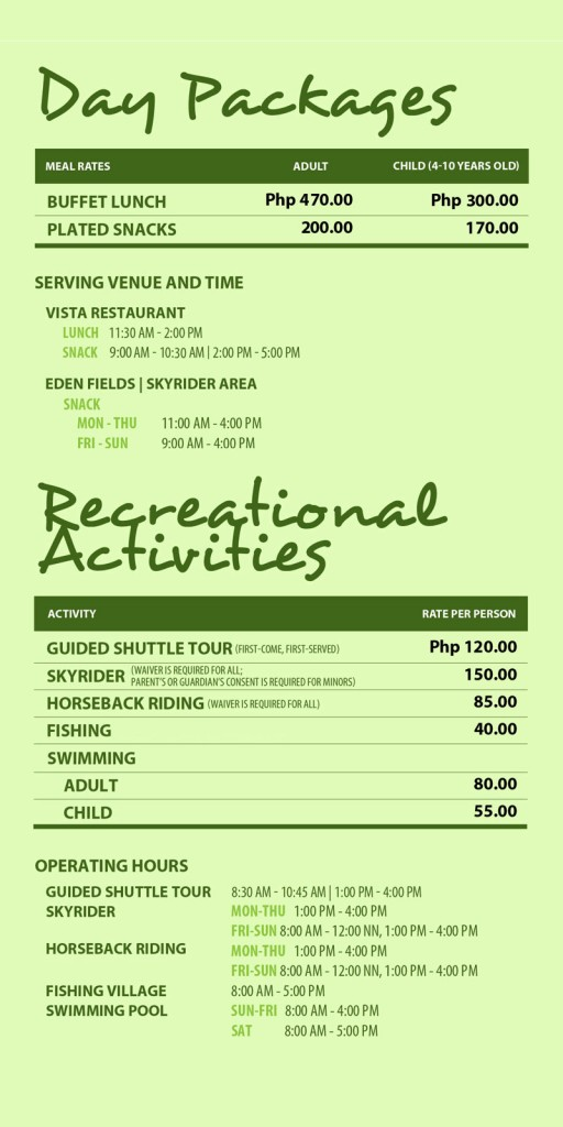 day tour rates image courtesy of eden nature park official website
