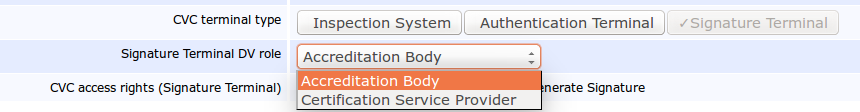 Pic 1: Body or a Certification Service Provider options in the Signature Terminal in EAC 2.10, EJBCA Enterprise 6.2.0.