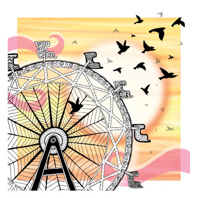 Ferris wheel at sunset with birds.