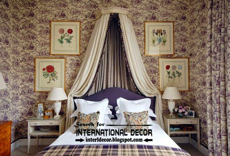 classic English style in the interior, English bedroom interiors with purple wallpaper patterns