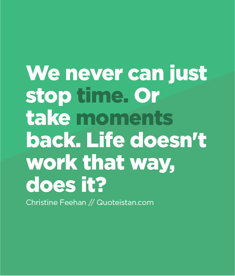 We never can just stop time. Or take moments back. Life doesn't work that way, does it?