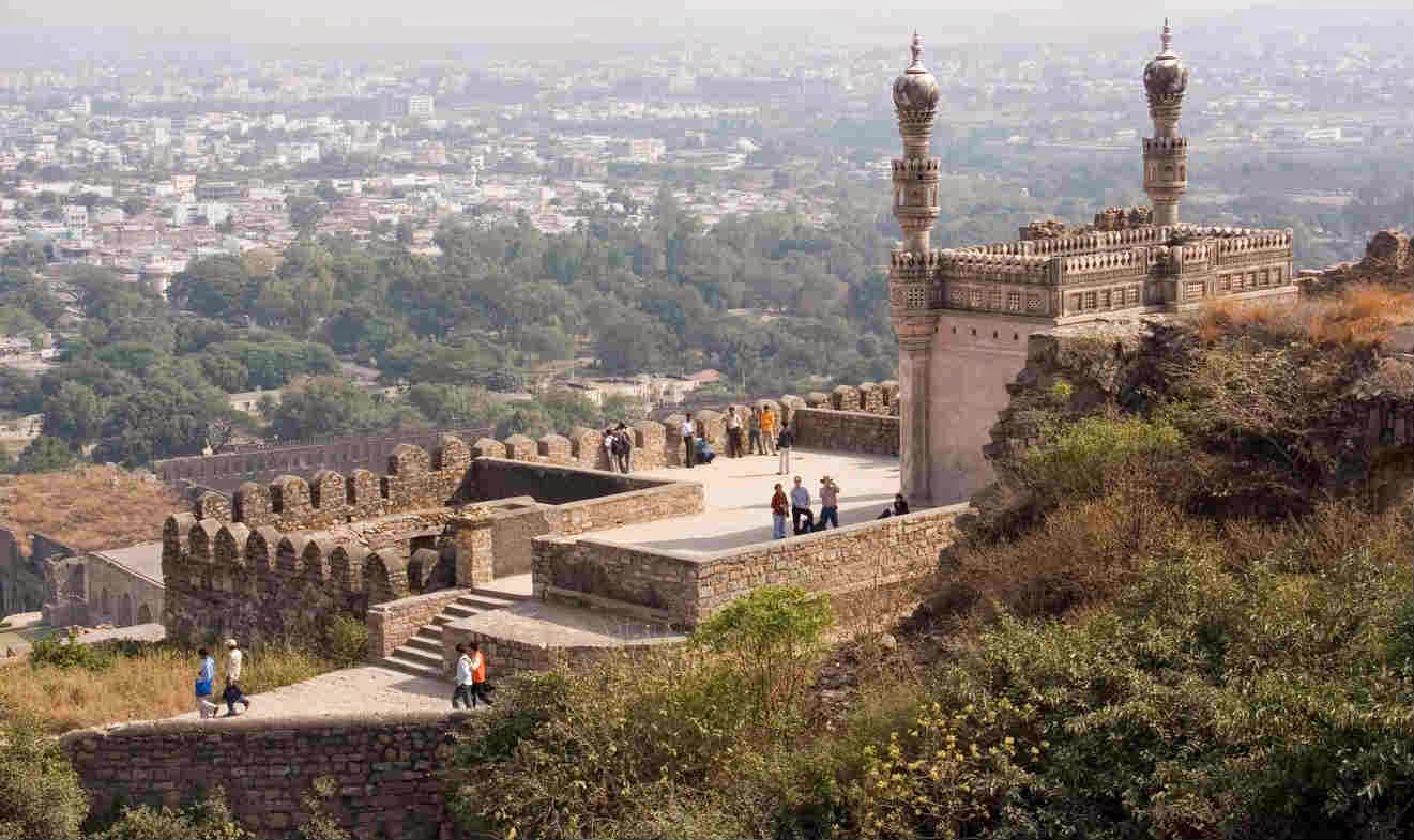 A mosque at the summit of the Golconda Fort