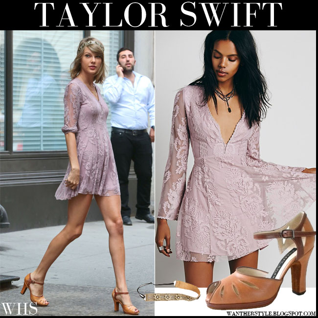 Taylor Swift in dusty lilac lace mini dress Free People New York Street Fashion Style what she wore july 13