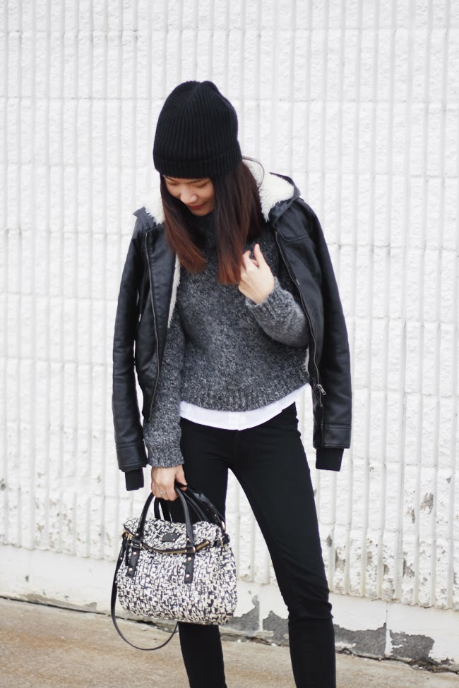 turtleneck sweater, winter outfit, blogger street style, gray sweater, chunky sweater, black and white outfit, american eagle sweater, hm black beanie, forever 21 leather winter jacket, kate spade purse, converse black leather sneakers