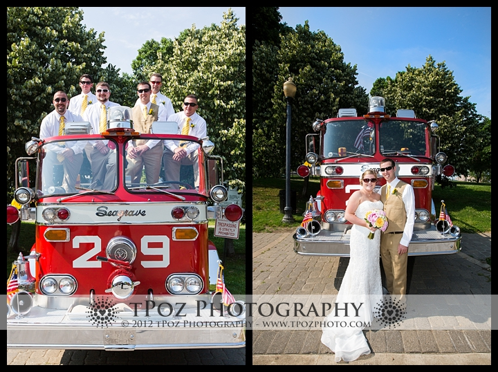 fire truck bridal party pictures