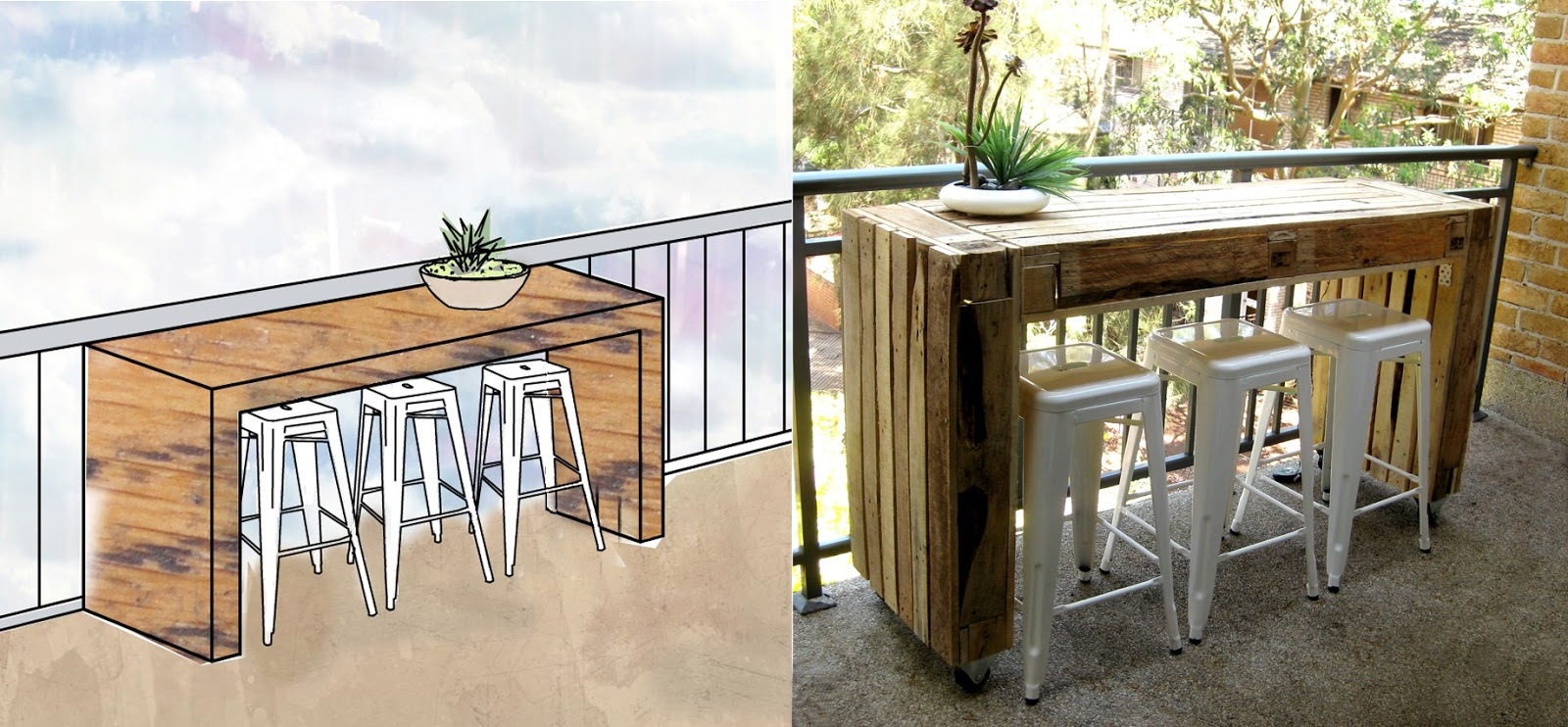 Custom balcony table made of pallets ecocentric for Balcony bar top