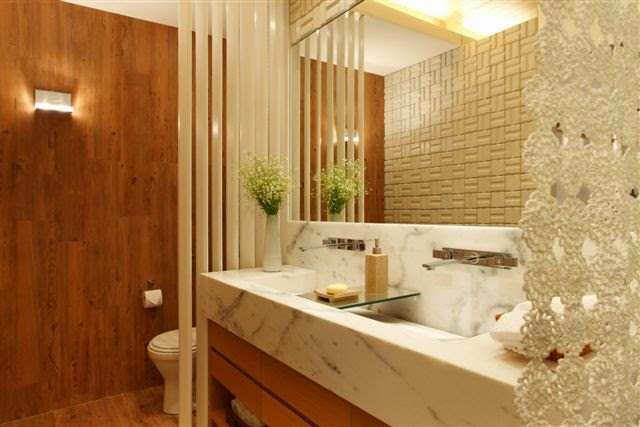Construindo Minha Casa Clean Duvida da Leitora  Dicas de Pisos Amadeirados  -> Banheiros Medios Decorados