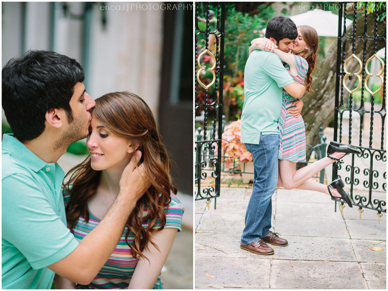 kissing forhead engagement photo