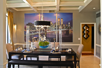 cosmopolitan inspired dining room with stunning city wall pictures