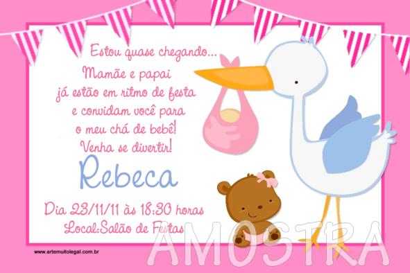 Arte muito legal - Convites para chá de bebê e chá de fraldas