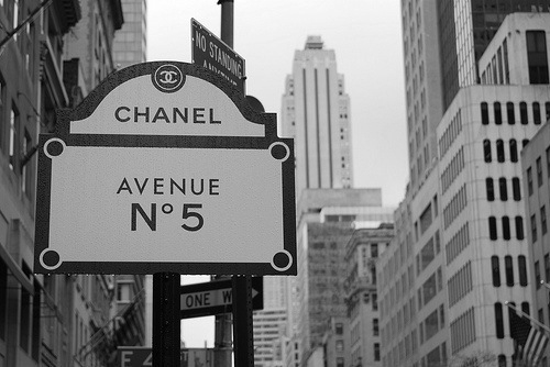 Black and white image of Chanel sign in New York