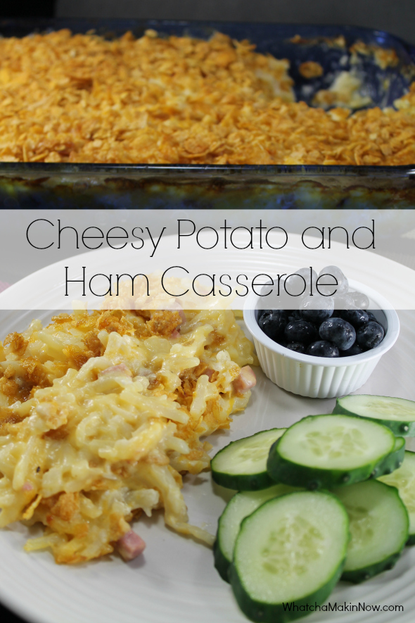 {make-ahead} Cheesy Potato and Ham Casserole - Make the night before and then pop in the oven after work! So easy! #QuickFixCasseroles