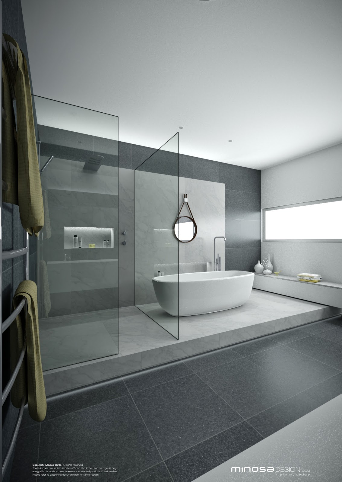 Minosa a real showstopper modern bathroom for Pictures of contemporary bathrooms