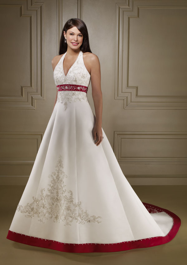 Formal wedding dresses red color accent wedding dress for Wedding dresses in color
