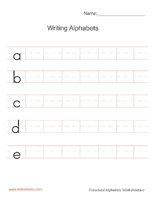 Free Printable Preschool Writing Alphabets Worksheets, Free Worksheets, Kids Writing Worksheets, Alphabets Worksheets, Preschool Writing Alphabets Worksheets, Writing Alphabets, Preschool, Kids Writing Alphabets, Lowercase Alphabets,Writing Lower Case Alphabets a-e, Writing Alphabets Worksheets
