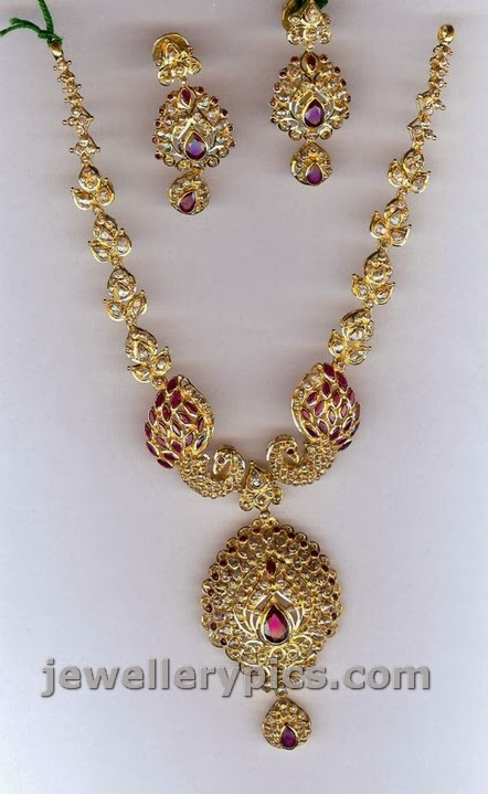 uncut diamond necklace sets from sri mahalaxmi jewellers