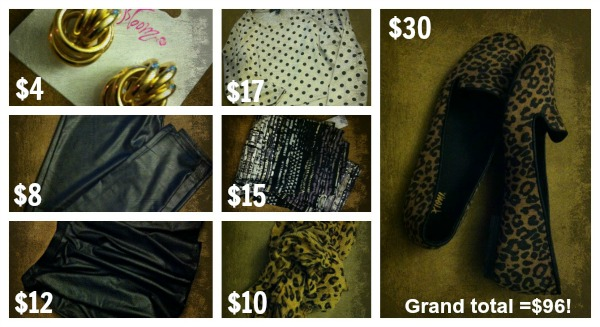 $100 Shopping Challenge; leather skirt; leather leggings; leopard loafers; leopard scarf; polka dot peplum top; San Francisco Fashion and Beauty Blogger