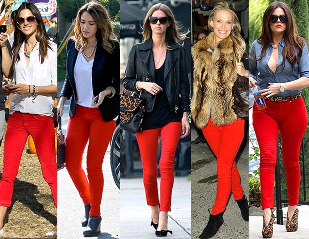 Trendencias 4 maneras de usar jeans rojos