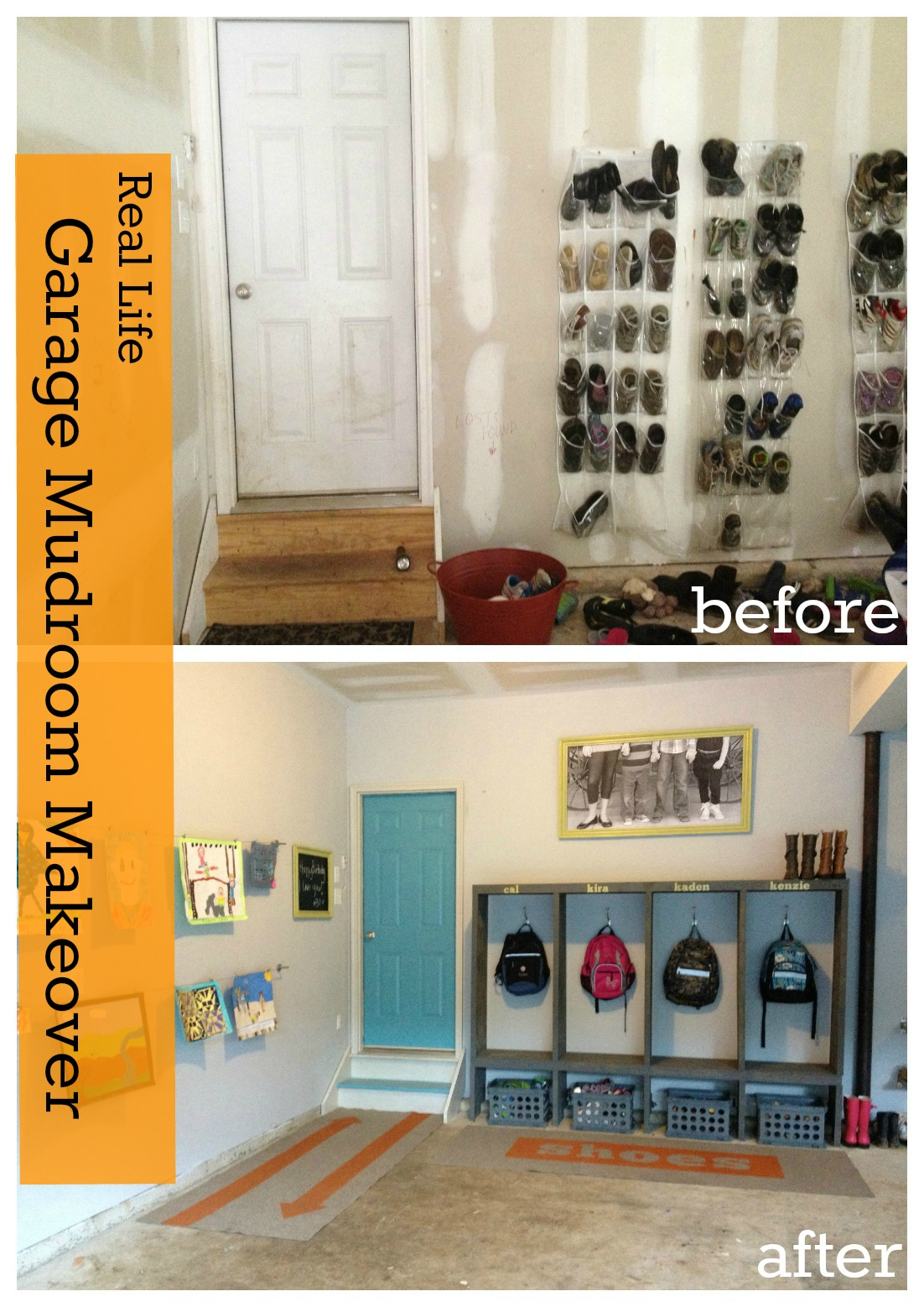 Custom Painted Runner Rugs {Garage Mudroom Makeover}