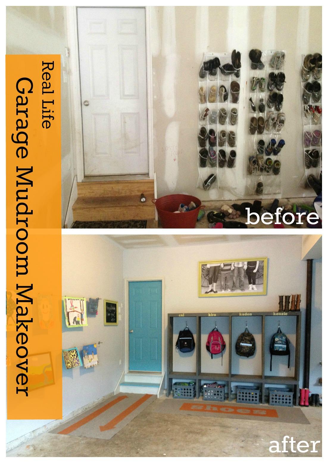 Custom Painted Runner Rugs Garage Mudroom Makeover