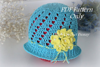 Cloche Summer Hat Pattern, Size 3-5 Years Old, $3.65