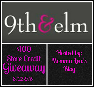 Sign up for the 9th and elm blogger opportunity. $100 Store Credit. Giveaway runs 8/22-9/5.