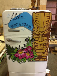 tiki style beer fridge sign painted by hand by chris dobell canada north america