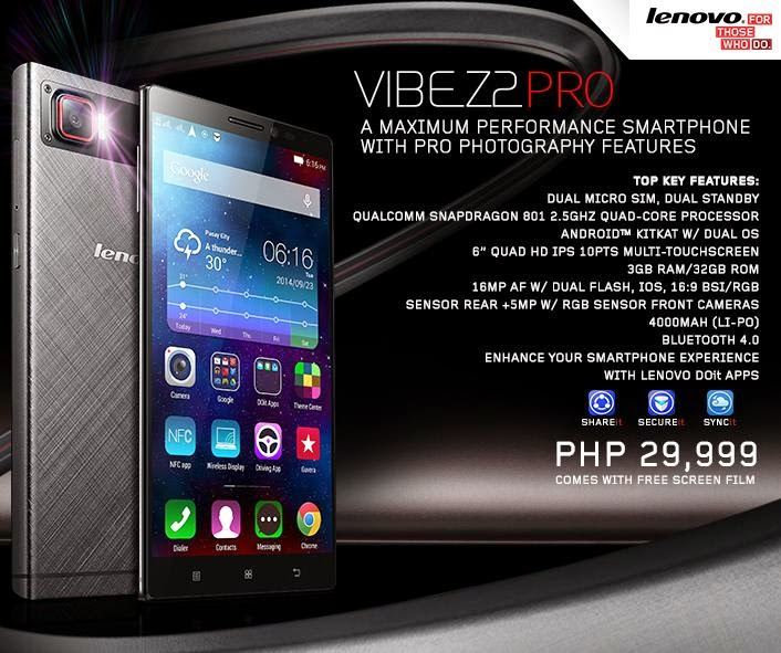Price P29999 Features Dual MicroSIM Standby And Lenovo DOit Apps Screen 60 Quad HD IPS 10 Points Multi Touchscreen Resolution