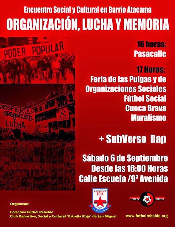 SAN MIGUEL: ENCUENTRO SOCIAL Y CULTURAL EN BARRIO ATACAMA, ORGANIZACIÓN, LUCHA Y MEMORIA