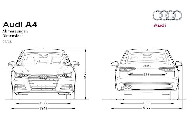 Novo Audi A4 2016 - dimensões