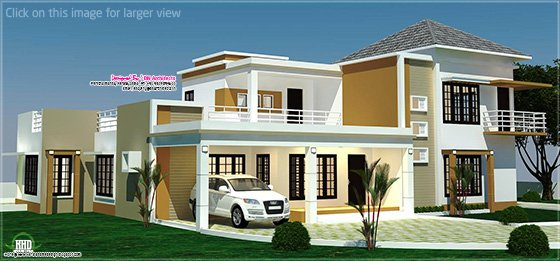 4 BHK villa left side elevation