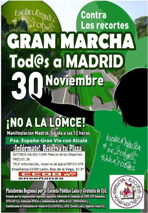 Sindicato de ense anza ccoo le n marcha a madrid 30 de for Ccoo ensenanza madrid