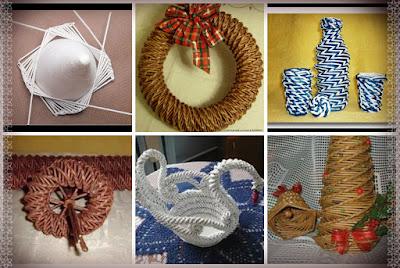 коллаж изделий спирального плетения