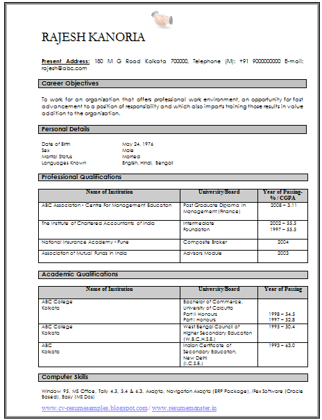 sample resume for mis executive in india