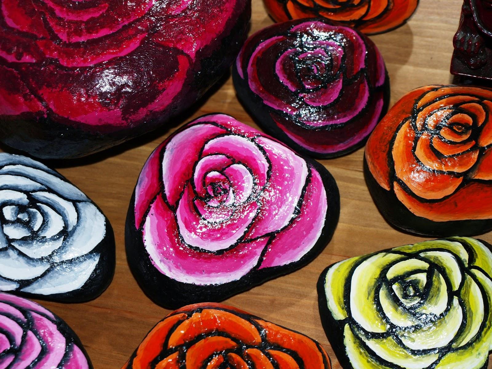 PIEDRAS PINTADAS A MANO: rosas